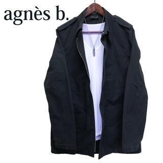 アニエスベー(agnes b.)のagnes b. homme PARIS ステンカラージャケット黒カバーオール(カバーオール)