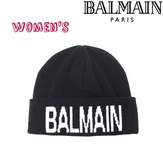 バルマン(BALMAIN)の新品 定価5.2万 BALMAIN ウールカシミヤ ニットキャップ ブラック(ニット帽/ビーニー)