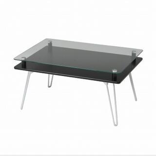 3色展開 ガラステーブル ディスプレイテーブル ローテーブル ブラック(ローテーブル)