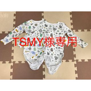 エイチアンドエム(H&M)のH&M ロンパース 長袖 肌着 size98 2枚セット アニマル柄(肌着/下着)
