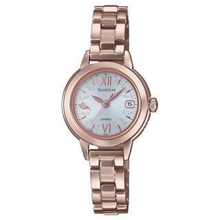 カシオ(CASIO)のカシオ SHEEN 小型 電波ソーラー腕時計 ピーチゴールド(腕時計)