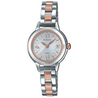 カシオ(CASIO)のカシオ SHEEN 小型 電波ソーラー腕時計 シルバー×ピンクゴールド(腕時計)