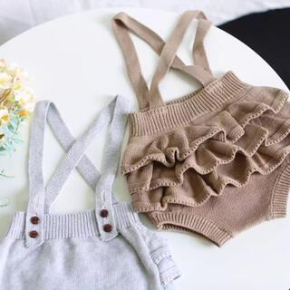petit main - サスペンダー付きニットフリルパンツ⭐︎韓国子供服⭐︎新品⭐︎70