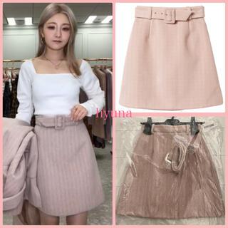 エイミーイストワール(eimy istoire)のeimy ♡ カラーヘリンボーンミニスカート ♡ PINK BEIGE(ミニスカート)