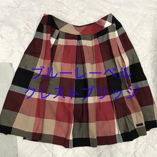 バーバリーブルーレーベル(BURBERRY BLUE LABEL)の美品 ブルーレーベルクレストブリッジ チェック スカート (ひざ丈スカート)