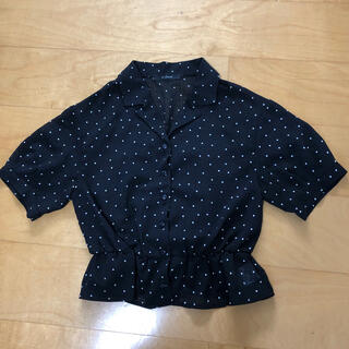 ダブルクローゼット(w closet)のWcloset 半袖ブラウス 黒(シャツ/ブラウス(半袖/袖なし))