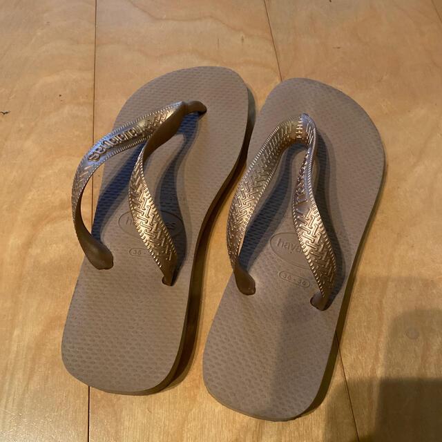 havaianas(ハワイアナス)のhavaianasハワイアナス ビーチサンダル ゴールド 35-36 レディースの靴/シューズ(ビーチサンダル)の商品写真