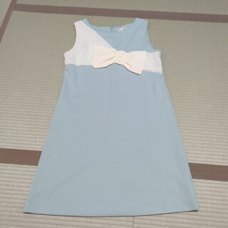 Lulala ブルー水色ノースリーブリボン ジャンパースカート(ひざ丈ワンピース)