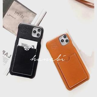 レザーiphoneケース 箱付き ブラック/ブラウン(iPhoneケース)