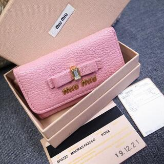 miumiu - 正規品☆ミュウミュウ 新作 キーケース リボン クリスタル バッグ 財布 小物
