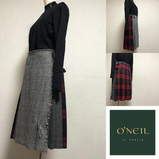 オニール(O'NEILL)のオニール コンビネーションチェック巻き後ろプリーツ スカート (ひざ丈スカート)
