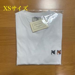 メゾンキツネ(MAISON KITSUNE')のメゾンキツネ ダブルフォックスヘッドパッチ Tシャツ 白 XSサイズ(Tシャツ/カットソー(半袖/袖なし))
