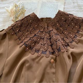 Grimoire - vintageレトロ古着レース飾りブラウン刺繍クラシカルブラウス