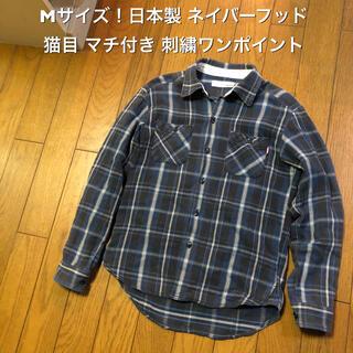 ネイバーフッド(NEIGHBORHOOD)のMサイズ!日本製 ネイバーフッド 古着長袖ネルシャツ 猫目 マチ付き (シャツ)