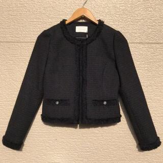 アベニールエトワール(Aveniretoile)の新品 Aveniretoile ジャケット ツイード 黒 ブラック 34(ノーカラージャケット)