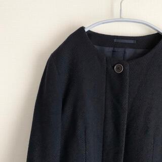 マーガレットハウエル(MARGARET HOWELL)のMARGARET HOWELL ヘリンボーン ノーカラー コート(ロングコート)