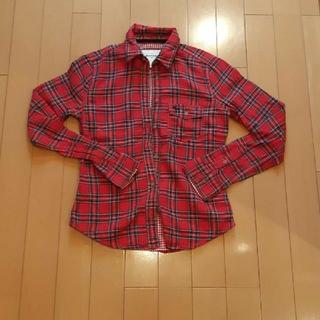 アバクロンビーアンドフィッチ(Abercrombie&Fitch)のアバクロンビー&フィッチ赤緑チェック柄長袖シャツ M140サイズ(シャツ/ブラウス(長袖/七分))