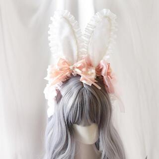 アンジェリックプリティー(Angelic Pretty)のゆめかわいいチュールレースのふわもこウサギカチューシャ ピンクうさぎ ロリータ(カチューシャ)