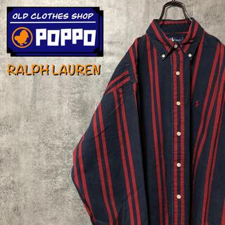 Ralph Lauren - ラルフローレン☆ワンポイント刺繍ロゴダブルストライプシャツ 90s