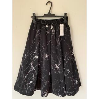 INCEDE 手描き風フラワープリントフレアスカート(ひざ丈スカート)