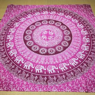 新品 マルチクロス マルチカバー こたつカバー アジア ピンク 正方形 R783