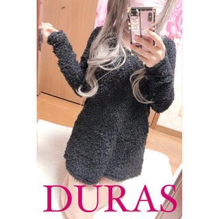 デュラス(DURAS)の2730.DURAS ブードルファーニット 厚手 ブラック ミニワンピース(ニット/セーター)