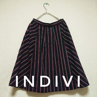 インディヴィ(INDIVI)のINDIVIインディヴィ 膝丈スカート フレアスカートM スカート フレアスカ…(ひざ丈スカート)