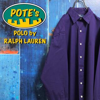 POLO RALPH LAUREN - 【ポロバイラルフローレン】ワンポイント刺繍ロゴストレッチ入りシャツ 90s