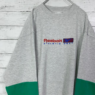 リーボック(Reebok)の【希少デザイン】90s リーボック 切り替え 刺繍ビックロゴ スウェット 人気(スウェット)