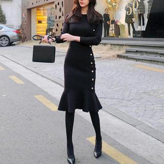 eimy istoire - 韓国ファッションサイドボタンニットワンピース S