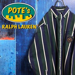Ralph Lauren - 【ラルフローレン】エンブレム刺繍ロゴワッペンマルチストライプシャツ 90s