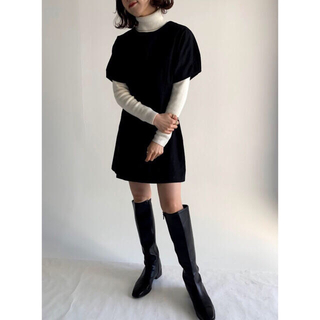 ロキエ(Lochie)のpapermoon black cotton op  (ミニワンピース)