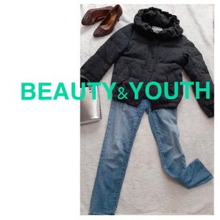 ビューティアンドユースユナイテッドアローズ(BEAUTY&YOUTH UNITED ARROWS)の  美品⭐︎BEAUTY&YOUTHダウンジャケット  ツイード グレー(ダウンジャケット)