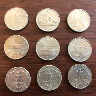アメリカ 25セントコイン クォーター 9枚セット(貨幣)
