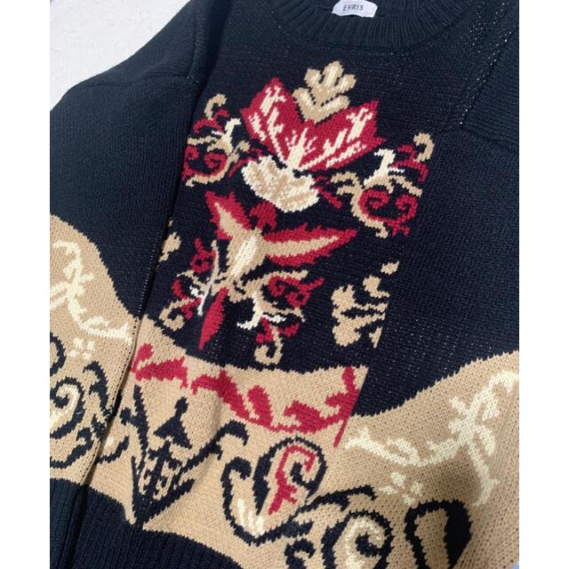 EVRIS(エヴリス)のEVRIS ゴシック ジャガード ニット プルオーバー bK レディースのトップス(ニット/セーター)の商品写真