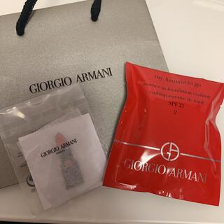 ジョルジオアルマーニ(Giorgio Armani)のマイアルマーニトゥゴークッションファンデ(サンプル) ピンバッチ、紙袋つき(ファンデーション)