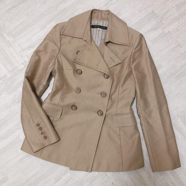 MICHEL KLEIN(ミッシェルクラン)の美品 MKピーコート 裏地付きコート チェスターコート ベージュ レディースのジャケット/アウター(ピーコート)の商品写真