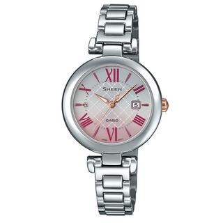 カシオ(CASIO)のカシオ SHEEN ソーラーサファイア 腕時計 シルバー×ピンク(腕時計)