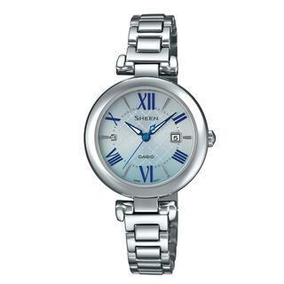 カシオ(CASIO)のカシオ SHEEN ソーラーサファイア 腕時計 シルバー×ブルー(腕時計)