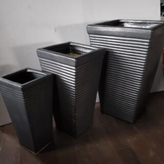 超 !! お買い得オシャレな黒釉高級スクエアトール型ポットH460…3枚セット(プランター)
