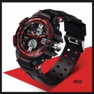 ■2020新入荷■赤 デュアルディスプレイ 防水ダイバーズ ウォッチ(腕時計(デジタル))
