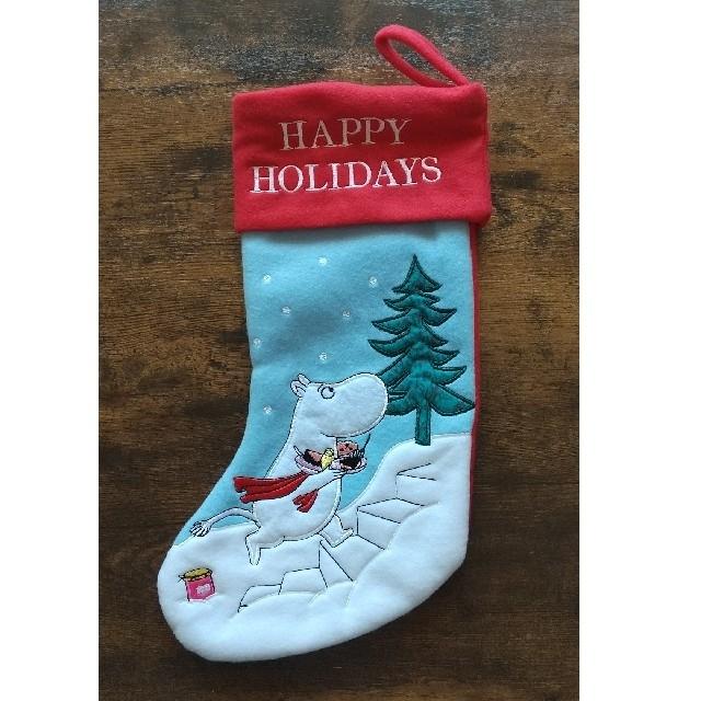 KALDI(カルディ)のムーミン クリスマス ファブリック ソックス 靴下 KALDI エンタメ/ホビーのおもちゃ/ぬいぐるみ(キャラクターグッズ)の商品写真