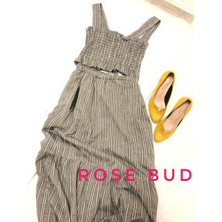 ローズバッド(ROSE BUD)の美品ROSE BUD ローズバッド ストライプ セットアップ マキシワンピース(ロングワンピース/マキシワンピース)