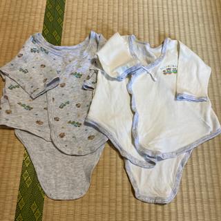 ニシマツヤ(西松屋)の(410) 50〜60 綿100% 長袖肌着 2枚組 クマ グレー(肌着/下着)
