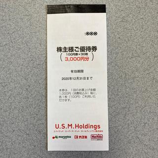 イオン(AEON)のユナイテッドスーパーマーケット 株主優待券 3000円分(ショッピング)