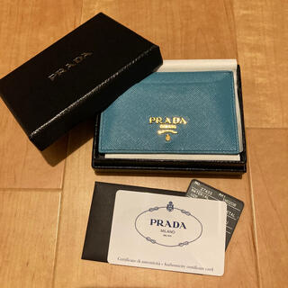プラダ(PRADA)のPRADA カードケース ブルー 箱付き(名刺入れ/定期入れ)