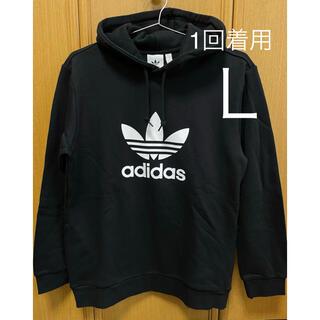 adidas - 美品 adidas パーカー 黒 MEN'S  Lサイズ(細目)