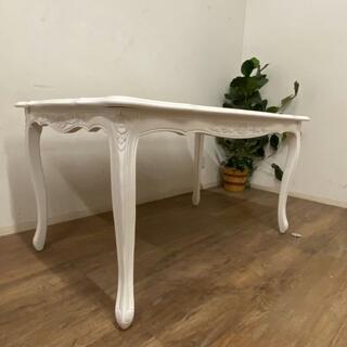 アウトレット フィオーレ ダイニングテーブル ハンドメイド 彫刻 150cm(ダイニングテーブル)