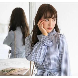 ユメテンボウ(夢展望)の新品タグ付♡フリルギンガムチェックワンピース/ブルー(ロングワンピース/マキシワンピース)