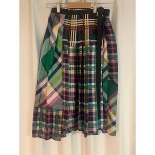 サカイ(sacai)のクリーニング済 sacai サカイ 異素材チェックプリーツスカート サイズ1(ひざ丈スカート)